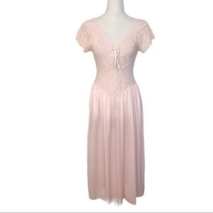 Vintage Cinema Etoile Pink Lace Nightgown Chemise